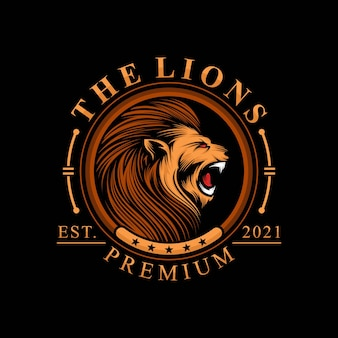Logo głowa lwa na czarnym tle