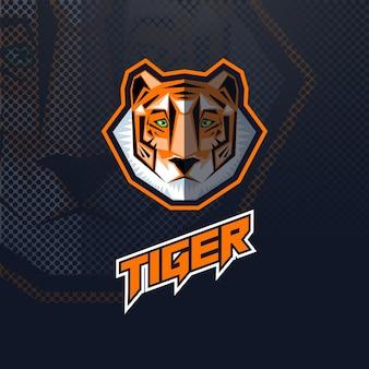 Logo głowa tygrysa, maskotka lub esport z napisem na czarnym tle.
