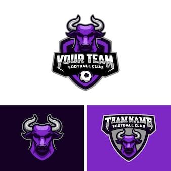 Logo głowy byka dla logo drużyny piłkarskiej.