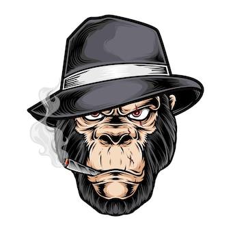 Logo głowy gangstera goryla