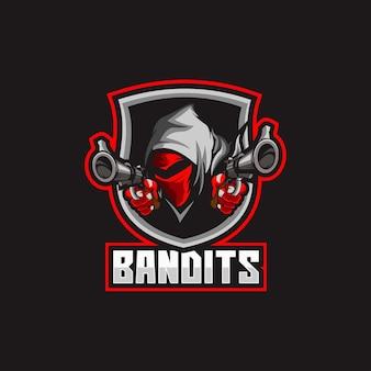 Logo głowy gangstera w masce bandyty