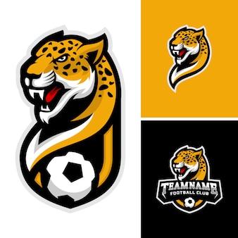 Logo głowy geparda dla logo drużyny piłkarskiej.
