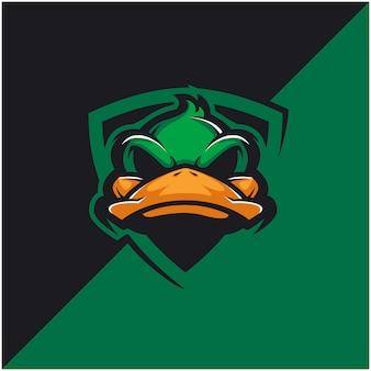 Logo głowy kaczki dla drużyny sportowej lub e-sportowej.