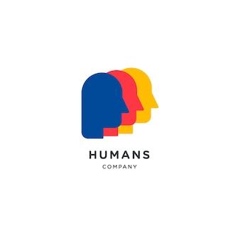 Logo głowy ludzi. ilustracja ludzkiej twarzy. logo kreatywnego pomysłu na umysł.