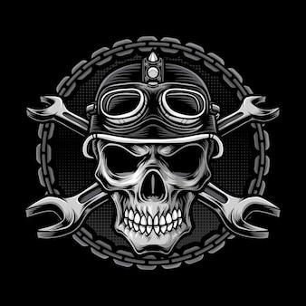 Logo głowy motocyklisty czaszki
