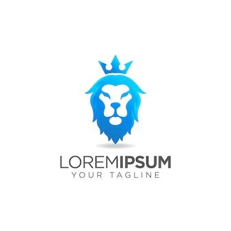 Logo głowy niebieskiego lwa