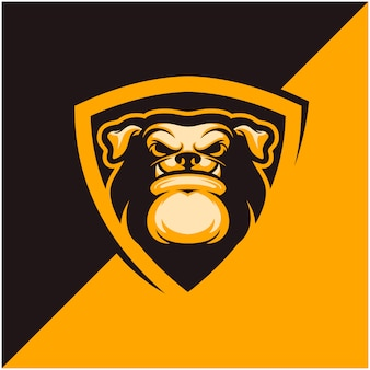 Logo głowy psa dla drużyny sportowej lub e-sportowej.