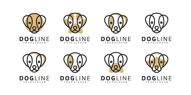 Logo głowy psa w stylu sztuki linii