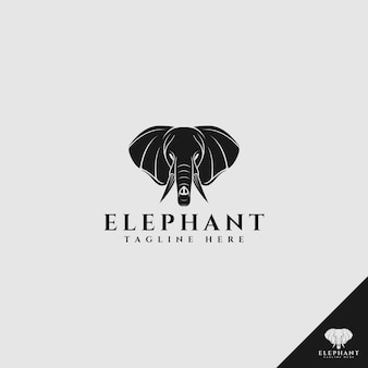 Logo głowy słonia w stylu sylwetka