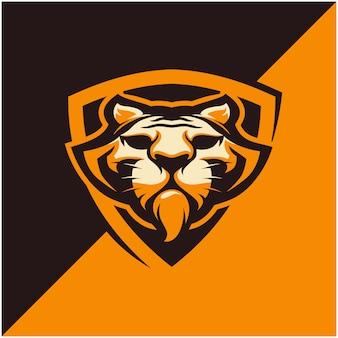 Logo głowy tygrysa dla drużyny sportowej lub e-sportowej.