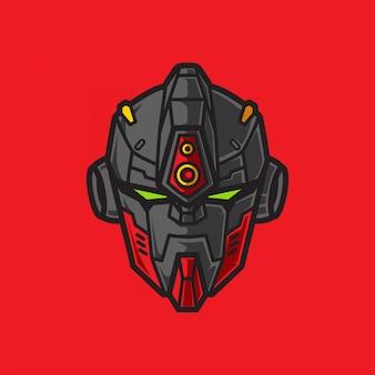Logo głowy wojownika robota żołnierza z geometrycznym tłem