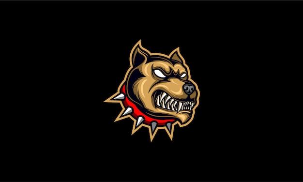 Logo głowy zły pitbull