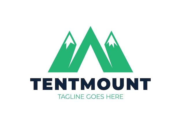 Logo gór w stylu m lub a i ikona namiotu kempingowego. logotyp obozu