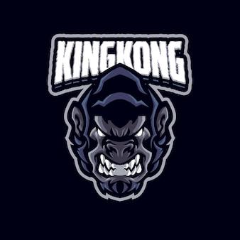 Logo gorilla mascot dla drużyny esportowej i sportowej