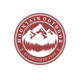 Logo górskiej przyrody na zewnątrz - przygoda przyroda sosna las projekt prosty minimalistyczny okrągły.