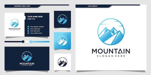 Logo góry z koncepcją sztuki linii okrągłej, sport, na zewnątrz, wspinaczka, premium wektor