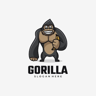 Logo goryl prosty styl maskotki.