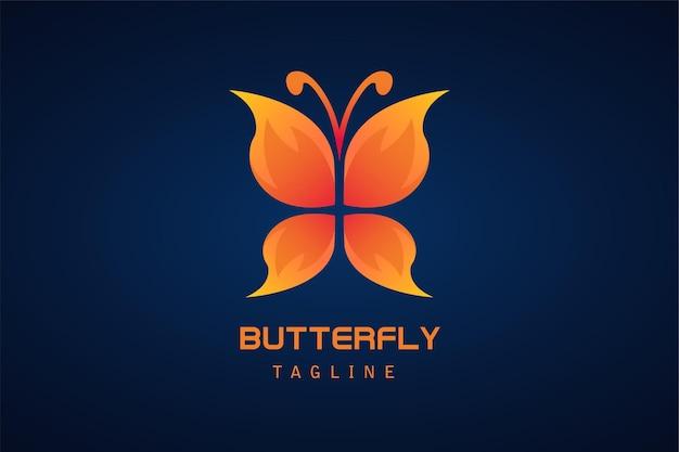Logo gradientowe z pomarańczowym czerwonym motylem butterfly