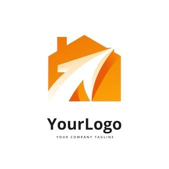 Logo gradientu koloru strzałki i domu premium wektorów