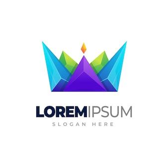 Logo gradientu korony szablon logo kolorowe korony
