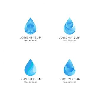 Logo gradientu kropli wody o abstrakcyjnym kształcie