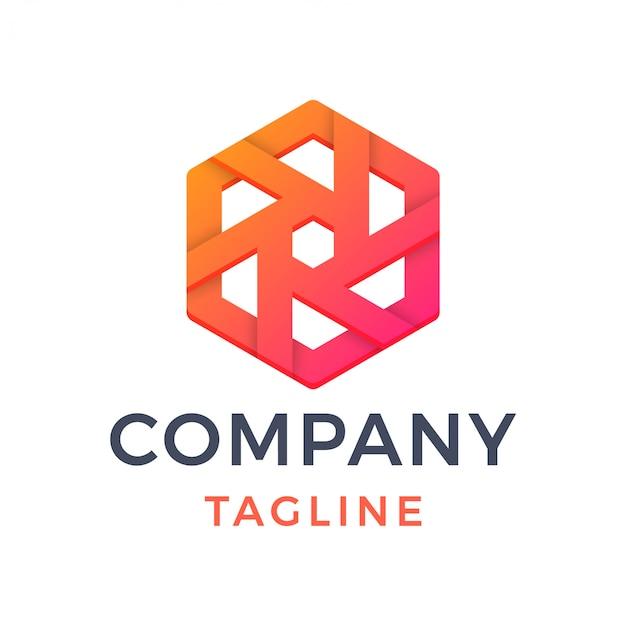 Logo gradientu streszczenie sześciokątne koła