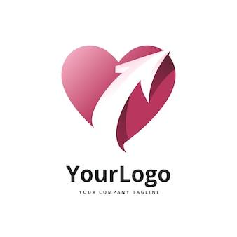 Logo gradientu strzałki i serca wektor premium