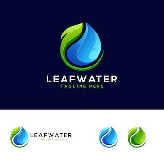 Logo gradientu wody z liści