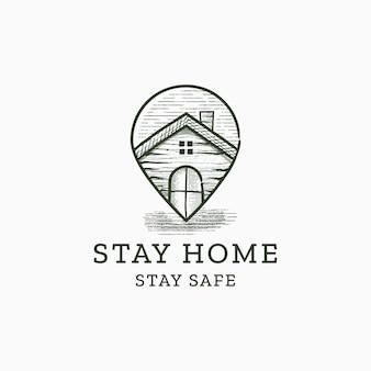 Logo grawerowane ręcznie rysunek mapy domu i pinezki