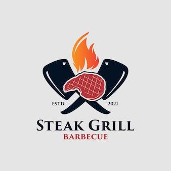 Logo grilla grillowego premium wektor