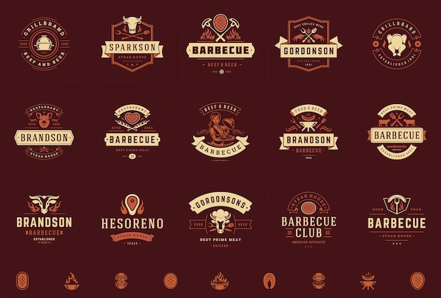 Logo grilla i grilla ustawione na plakietkach menu steak house lub restauracji