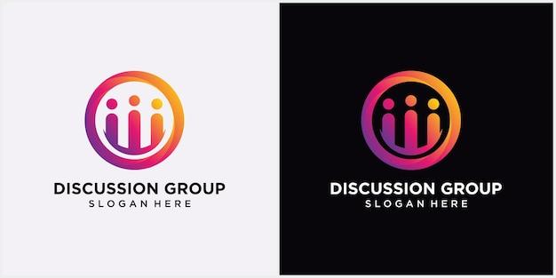 Logo grupy dyskusyjnej szablon logo czatu konsultacji ludzie i konsultacja wektor projektu logo