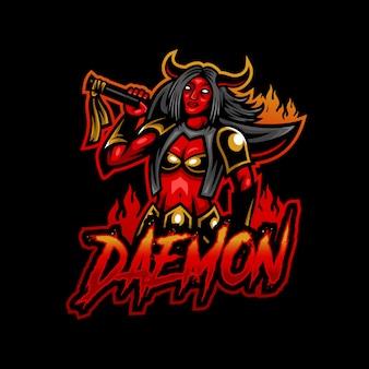 Logo gry e-sportowej maskotki demona
