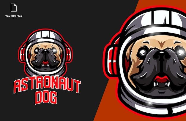 Logo gry e-sportowej psa astronauty