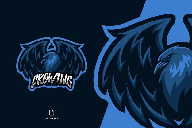 Logo gry esport maskotka kruk wrona
