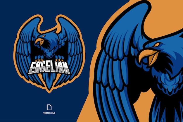 Logo gry esport maskotka niebieski orzeł dla zespołu graczy