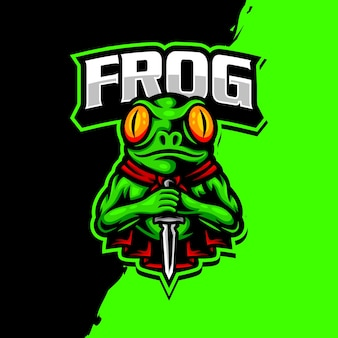 Logo gry esport maskotka żaba
