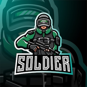 Logo gry esport maskotka żołnierza