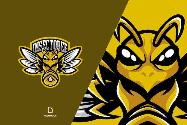 Logo gry esport maskotka żółta pszczoła dla drużyny gier sportowych
