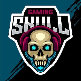 Logo gry esport z głową czaszki