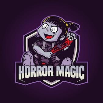 Logo gry magiczna maskotka ilustracja