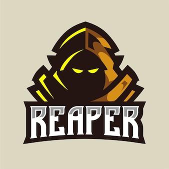 Logo gry maskotka brązowy żniwiarz