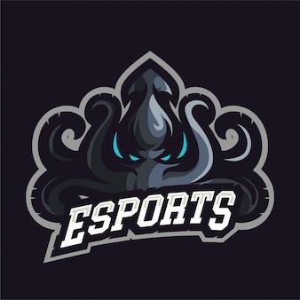 Logo gry maskotka ciemna ośmiornica