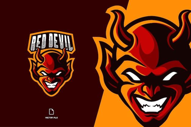Logo gry maskotka czerwonego diabła dla ilustracji drużyny sportowej i esportowej