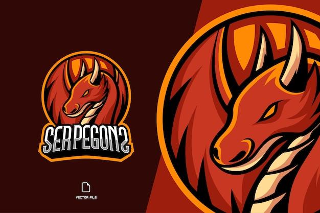 Logo gry maskotka czerwonego smoka dla szablonu zespołu e-sportowego i sportowego
