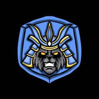 Logo gry maskotka samuraj panda