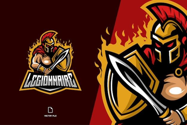 Logo gry maskotki spartańskiej dla ilustracji zespołu sportowego i esportowego