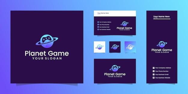 Logo gry planety połączenie planet i gry joystick oraz wizytówek
