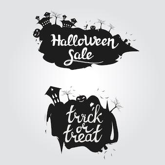 Logo halloween sprzedaż i cukierek albo psikus