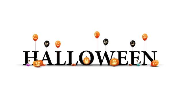 Logo halloween, znak, symbol. tytuł 3d z dyniami halloween, balonami i liśćmi klonu na białym tle